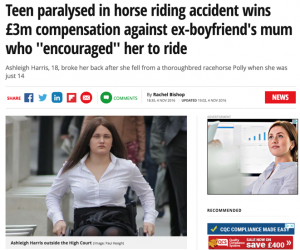 Horse Owner Faces £3m Bill For Accident That Left a Teenage Girl Seriously Injured