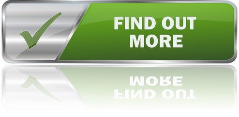 FIND OUT MORE / realistic modern glossy 3D vector eps banner in green with metallic border and checkmark