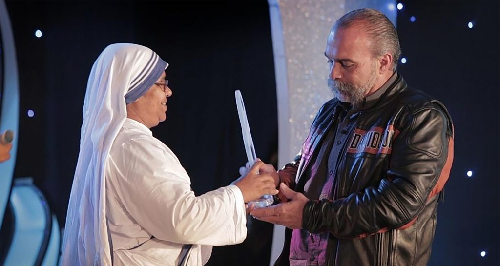 Being HONOURED with the Mother Teresa International Award for Social Justice 2013 Sam Childers