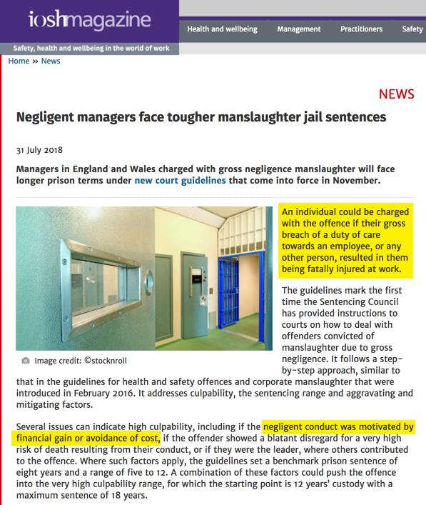 Tougher Sentences for Gross Negligence Manslaughter