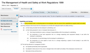egulation 13 of The Management of Health & Safety at Work Regulations 1999