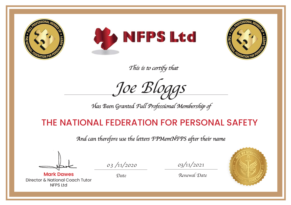NFPS Full Professional Membership Certificate