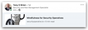 Tony O Brien Mindfulness for Security Operatives